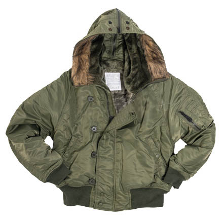 N-2B BASIC jacket pilot hooded OLIV MIL-TEC® 10411001 L-11