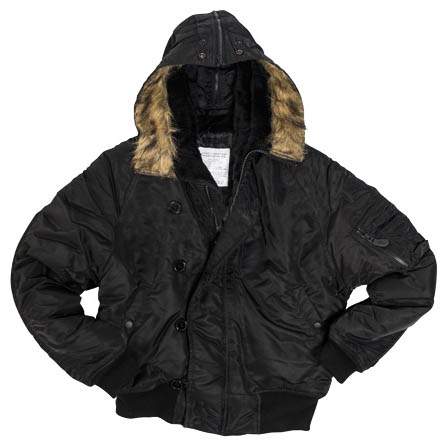 N-2B BASIC jacket pilot hooded BLACK MIL-TEC® 10411002 L-11