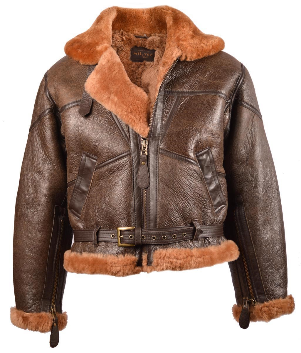 UK leather jacket with collar RAF BOMBER BROWN MIL-TEC® 10451009 L-11