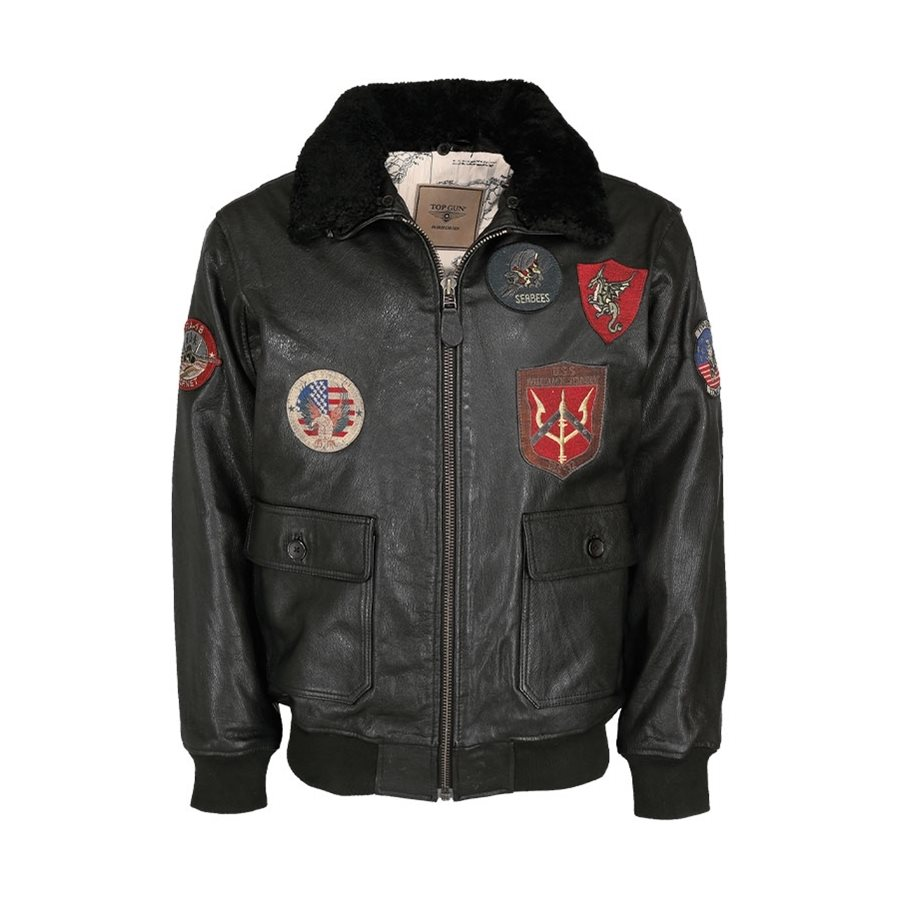 Leather pilot jacket TOP GUN BLACK MIL-TEC® 10470002 L-11
