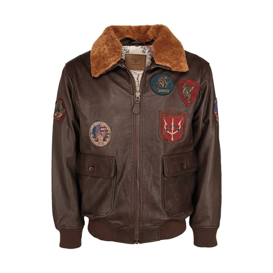 Leather pilot jacket TOP GUN BROWN MIL-TEC® 10470009 L-11