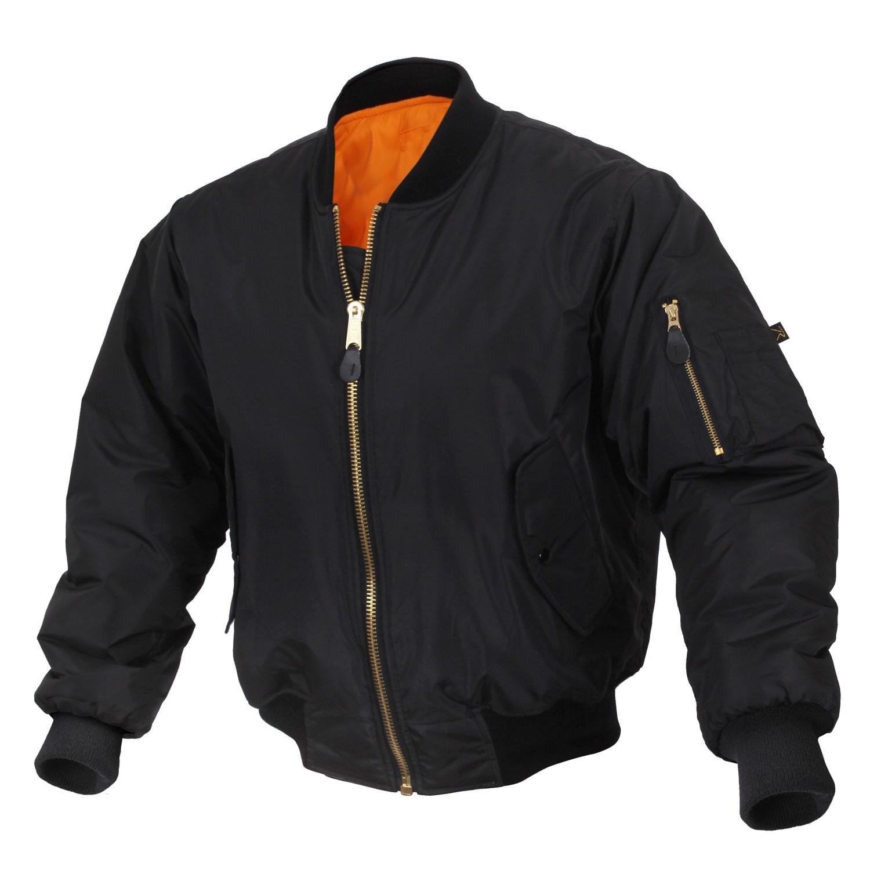 Enhanced Nylon MA-1 Flight Jacket BLACK ROTHCO 2890 L-11