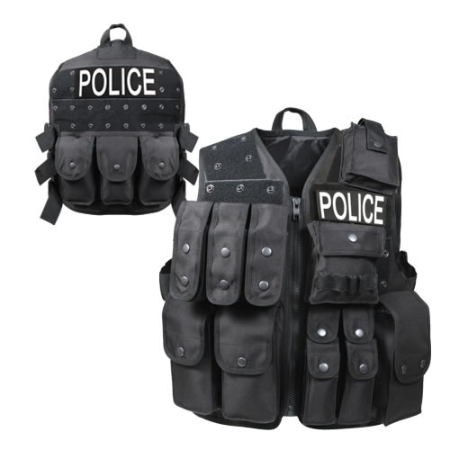POLICE tactical vest with pouches intervention BLACK ROTHCO 6785 L-11
