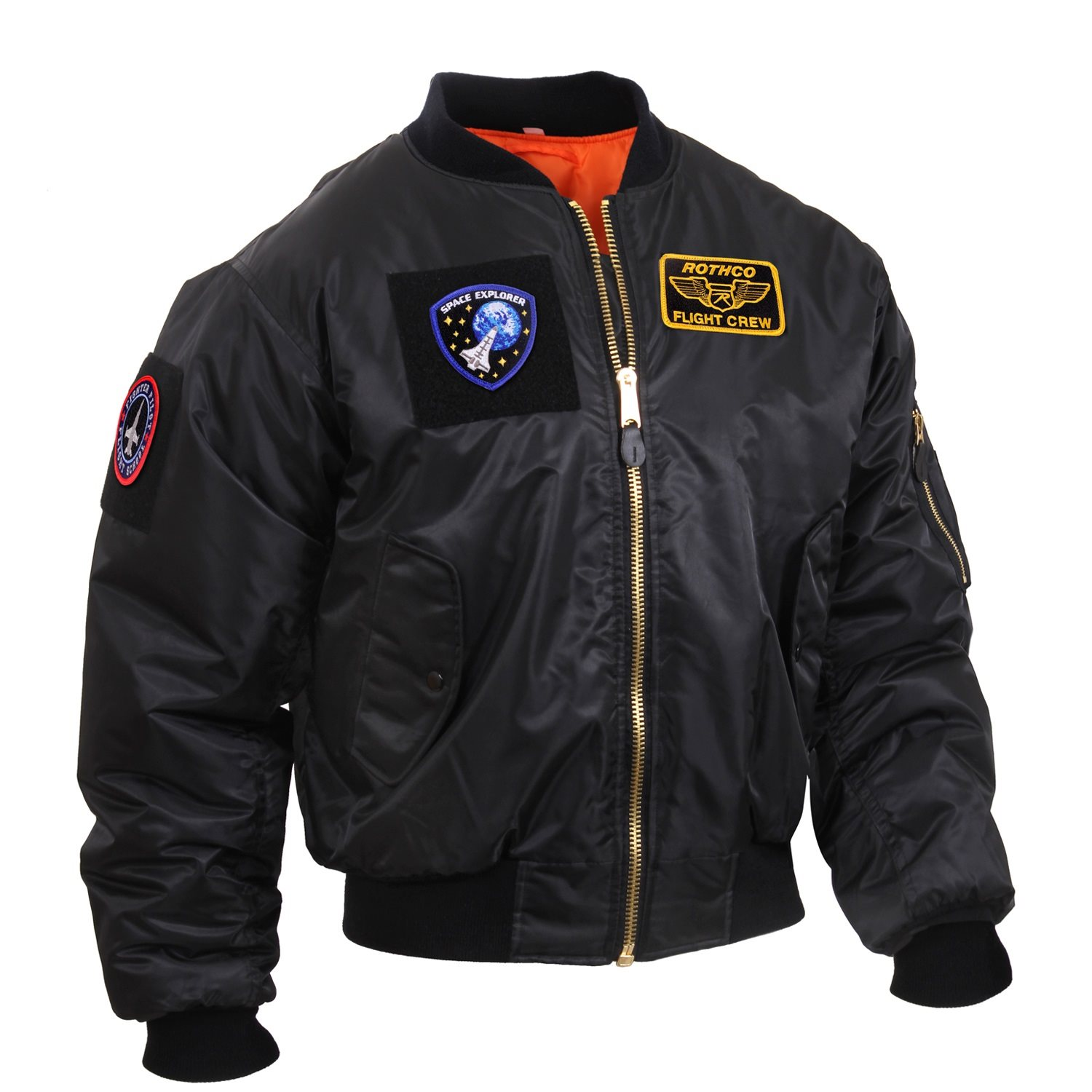 Jacket with patches MA1 FLIGHT BLACK ROTHCO 7250 L-11