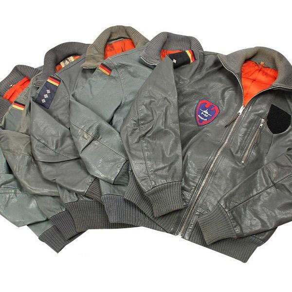 BW pilot leather jacket GRAY used Bundeswehr 91049800 L-11