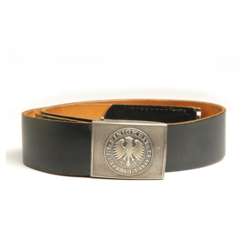 BW Staff leather belt with silver buckle black feature Bundeswehr 91330201 L-11