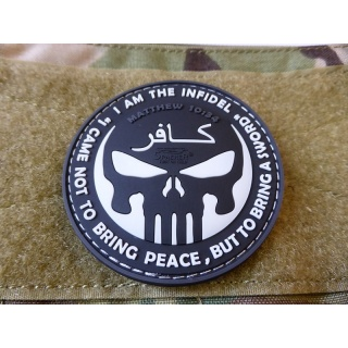Patch INFIDEL PUNISHER plastic BLACK/WHITE JACKETS TO GO SG.TIP.SW L-11
