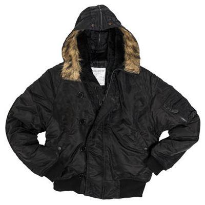 N-2B BASIC jacket pilot hooded BLACK