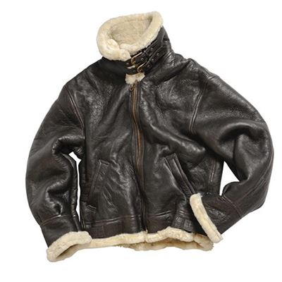 U.S. BOMBER leather jacket with collar B3 BROWN