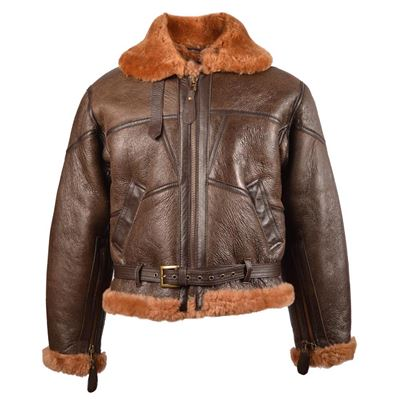 UK leather jacket with collar RAF BOMBER BROWN