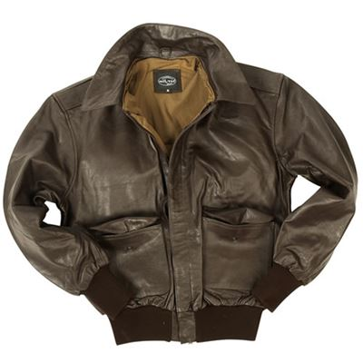 Leather jacket with collar U.S. A2 BROWN