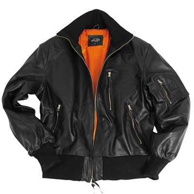 BW AVIATOR Leather Jacket BLACK