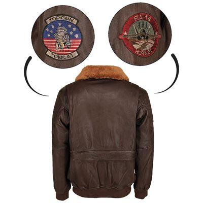 Leather pilot jacket TOP GUN BROWN