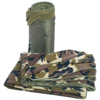 Blanket POLY FLEECE 150x200 enveloped WOODLAND