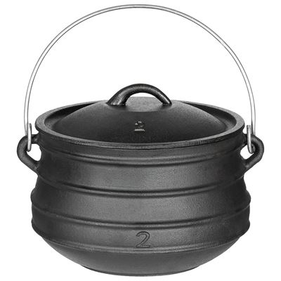 Cast iron field kettle with a lid of 5 liters