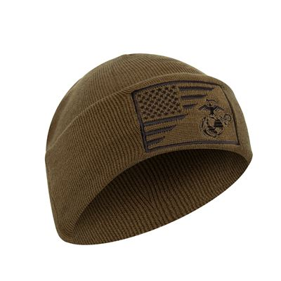 USMC/ US Flag Deluxe Fine Knit Watch Cap COYOTE