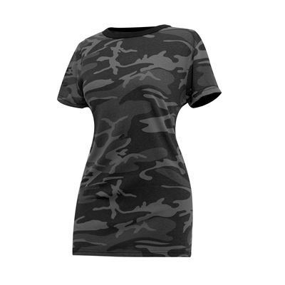 Women's Long Length Camo T-Shirt BLACK CAMO
