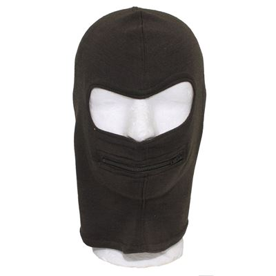 ITALIAN Balaclava mouth zipper OLIVE new
