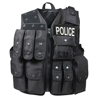 POLICE tactical vest with pouches intervention BLACK