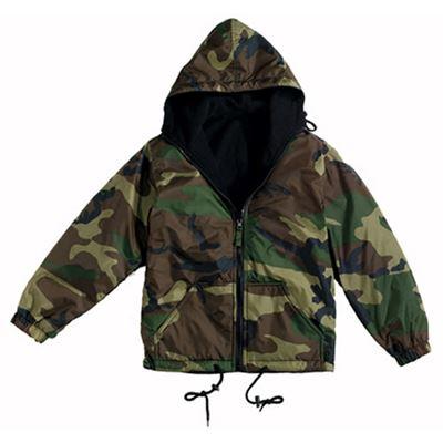 Reversible jacket with hood WOODLAND