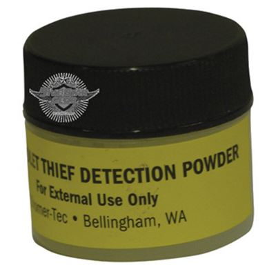 Powder to detect thieves, visible under UV light