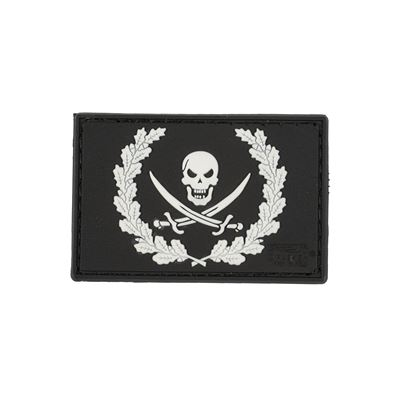NO FEAR PIRATE Plastic Velcro Patch BLACK/WHITE