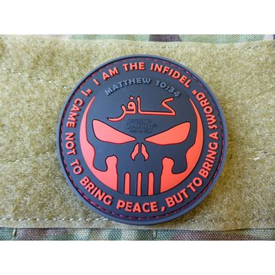 Patch INFIDEL PUNISHER plastic BLACK/RED